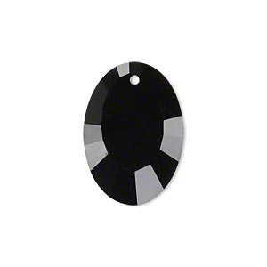 drop, glass, black, 23x17mm double-sided faceted oval. sold per pkg of 2.