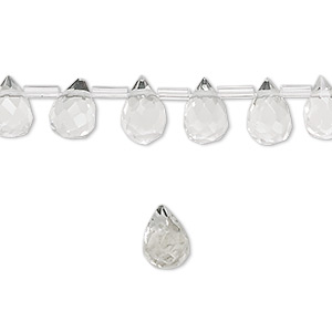 drop, glass, clear, 9x6mm faceted teardrop. sold per pkg of 50 drops.