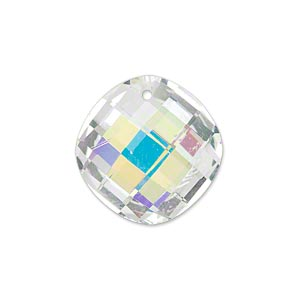 drop, glass, clear ab, 21mm double-sided faceted modified round. sold per pkg of 2.