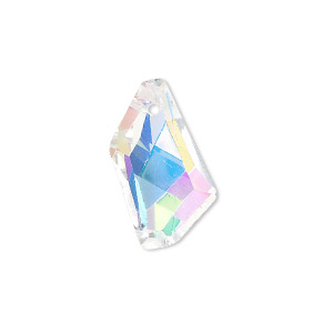 drop, glass, clear ab, 22x12mm double-sided faceted stellar. sold per pkg of 2.