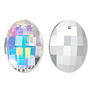 drop, glass, clear ab, 25x18mm double-sided faceted oval. sold per pkg of 2.