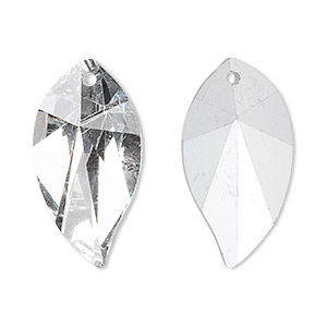 drop, glass, clear, foil back, 28x15mm hand-cut faceted leaf. sold per pkg of 2.