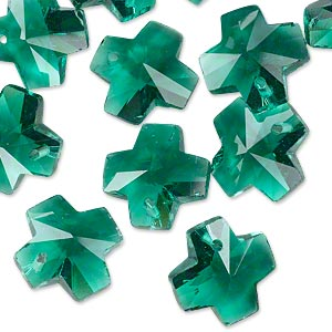 drop, glass, green, 14x14mm faceted cross. sold per pkg of 16.