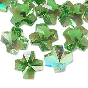 drop, glass, green ab, 14x14mm faceted cross. sold per pkg of 16.