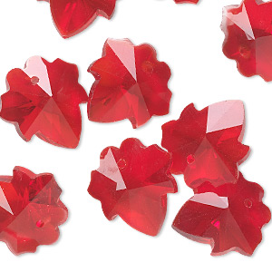 drop, glass, red, 16mm hand-cut faceted leaf. sold per pkg of 10.