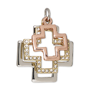 drop, glass rhinestone / silver- / gold- / copper-finished pewter (zinc-based alloy), clear, 18x18mm / 22x22mm / 28x28mm swiss cross. sold individually.