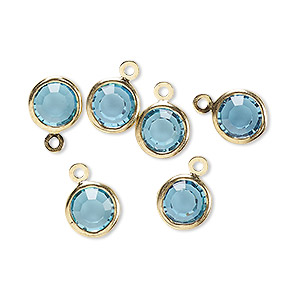 drop, glass rhinestone and gold-finished brass, aqua blue, 8-9mm faceted round. sold per pkg of 6.