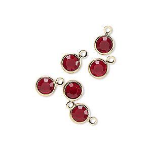drop, glass rhinestone and gold-finished brass, garnet red, 6-6.5mm faceted round. sold per pkg of 6.
