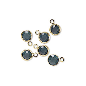 drop, glass rhinestone and gold-finished brass, zircon blue, 6-6.5mm faceted round. sold per pkg of 6.