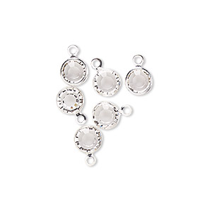 drop, glass rhinestone and silver-finished brass, crystal clear, 6-6.5mm faceted round. sold per pkg of 6.