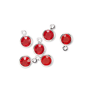 drop, glass rhinestone and silver-finished brass, ruby red, 6-6.5mm faceted round. sold per pkg of 6.