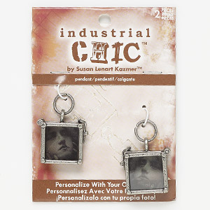 drop, glass with antique nickel-finished steel and pewter (zinc-based alloy), clear and grey, 24x22mm double-sided square frame with latch and removable insert. sold per pkg of 2.