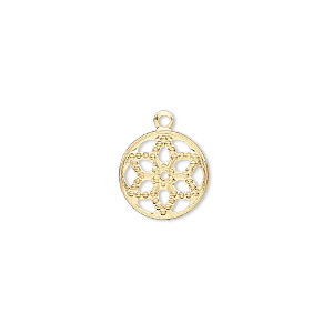 drop, gold-finished brass, 12mm filigree round with flower design. sold per pkg of 50.