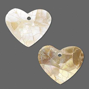 drop, gold lip shell and resin (assembled), white, 23x19mm single-sided heart. sold per pkg of 2.