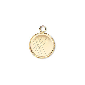 drop, gold-plated brass, 13mm round with beaded edge and 12mm round bezel setting. sold per pkg of 12.