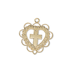 drop, gold-plated brass, 20x19mm heart with cross. sold per pkg of 4.