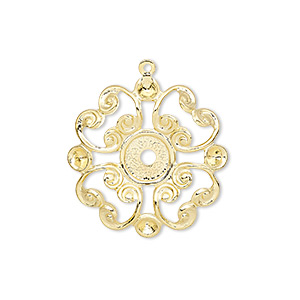 drop, gold-plated brass, 23mm fancy flower with mounting for 6mm flat back and (4) pp24 chaton settings. sold per pkg of 10.