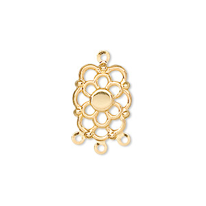 drop, gold-plated steel, 16x12mm fancy flower with 4mm round setting, 3 loops. sold per pkg of 100.