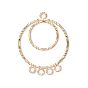 drop, gold-plated steel, 25mm double hoop with 4 loops. sold per pkg of 10.