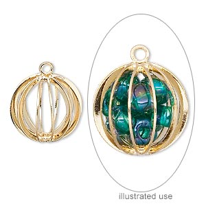 drop, gold-plated steel and brass, 15mm round cage. sold per pkg of 4.