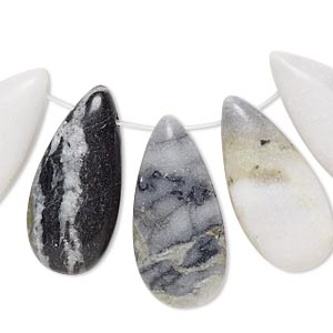drop, green earth jasper (natural), 24x11mm-26x13mm puffed teardrop with flat back, b- grade, mohs hardness 2-1/2 to 6. sold per 5-piece set.