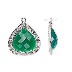 drop, green onyx (dyed) / white topaz (natural) / sterling silver, 20x20mm single-sided faceted teardrop. sold individually.