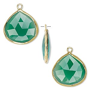 drop, green onyx (dyed) and gold-finished sterling silver, 20x20mm double-sided faceted teardrop. sold per pkg of 2.