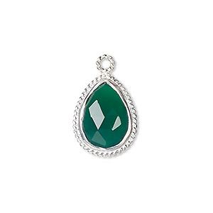 drop, green onyx (dyed) and sterling silver, 18x14mm-20x15mm hand-cut double-sided faceted teardrop with twisted wire design. sold individually.