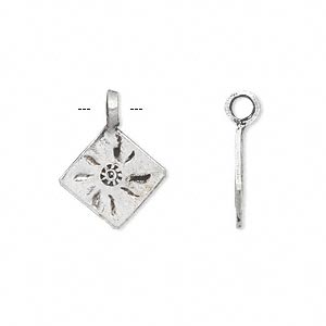 drop, hill tribes, antique silver-plated brass, 14x14mm single-sided diamond with sun design. sold per pkg of 2.