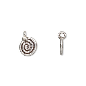 drop, hill tribes, antiqued fine silver, 10x9mm flat swirl round. sold per pkg of 4.