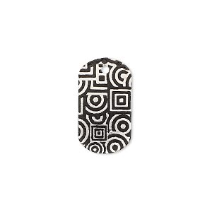drop, imitation rhodium-finished carbon steel, black, 20x11mm single-sided dog tag with geometric design. sold per pkg of 4.