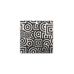 drop, imitation rhodium-finished carbon steel, black, 20x20mm single-sided square with geometric design. sold per pkg of 4.