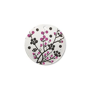 drop, imitation rhodium-finished carbon steel, black and pink, 20mm single-sided round with cherry blossom design. sold per pkg of 4.
