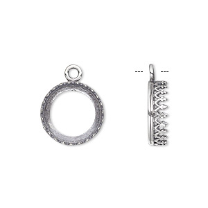 drop, jbb findings, antiqued sterling silver, 13.5mm open round with filigree edge, 12mm round bezel setting. sold individually.