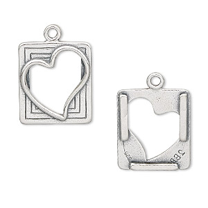 drop, jbb findings, antiqued sterling silver, 20x15mm rectangular picture frame with heart. sold individually.
