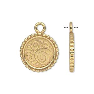 drop, jbb findings, gold-plated pewter (tin-based alloy), 18.5mm single-sided flat round frame with beaded edge and swirled background, 14mm round setting. sold individually.