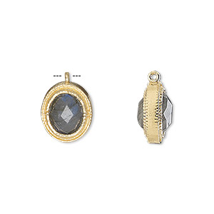 drop, labradorite (natural) and gold-finished sterling silver, 13x11mm double-sided faceted oval. sold individually.