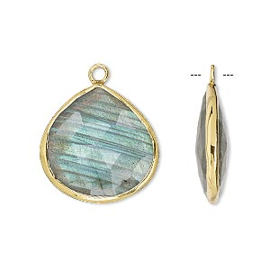 drop, labradorite (natural) and gold-finished sterling silver, 20mm double-sided faceted teardrop. sold per pkg of 2.