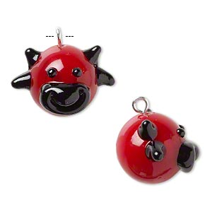 drop, lampworked glass and silver-finished brass, red and black, 20x17mm bull head. sold individually.