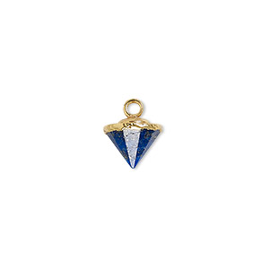 drop, lapis lazuli (natural) / electroplated gold / gold-finished sterling silver, 9x8mm-11x8mm hand-cut faceted cone. sold individually.