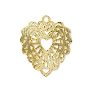 drop, lazer lace™, gold-finished brass, 26x24mm fancy heart. sold per pkg of 2.