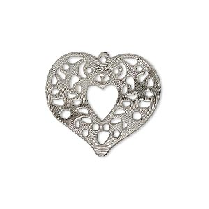drop, lazer lace™, silver-plated brass, 24x23mm fancy heart. sold per pkg of 4.