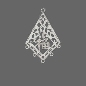 drop, lazer lace™, silver-plated brass, 29x22mm kite with good luck symbol with 5 loops. sold per pkg of 20.