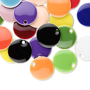 drop mix, epoxy and silver-plated brass, mixed colors, 12mm double-sided round. sold per pkg of 120.