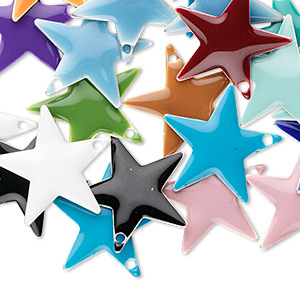 drop mix, epoxy and silver-plated brass, mixed colors, 17x17mm double-sided star. sold per pkg of 120.