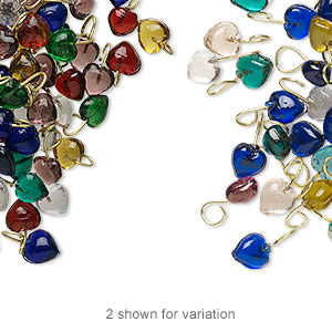 drop mix, glass and brass, mixed colors, 4x4mm heart. sold per pkg of 100.