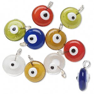 drop mix, glass, multicolored, 15x7mm double-sided flat round with wards off the evil eye design. sold per pkg of 10.