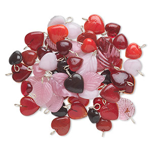 drop mix, glass with silver-finished metal, red and pink, 11x11mm-22x15mm double-sided heart and leaf. sold per 50-gram pkg, approximately 55 drops.
