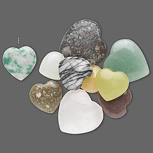 drop mix, multi-gemstone (natural / dyed / heated / manmade), multicolored, 13x12mm-20x20mm half-drilled heart. sold per pkg of 10.