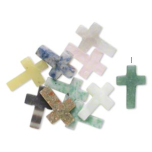 drop mix, multi-gemstone (natural), 21x14mm-22x16mm partially drilled cross. sold per pkg of 10.